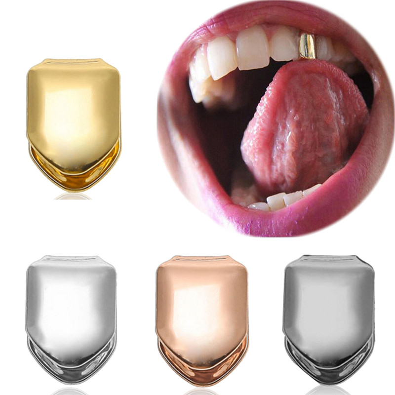 1Pcs Gold Silver Teeth Cap Dental Burs Hip-hop Style Tooth Brace Decoration Entertainment Adult Funny Party Teeth Cover