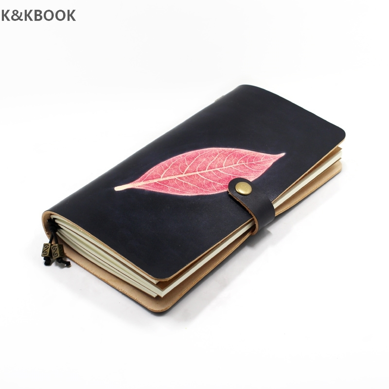 K&KBOOK Vintage Genuine Leather Travelers Notebook Leaf Portable Diary TN Planner 2017 agenda Traveler Notebook Journal gifts