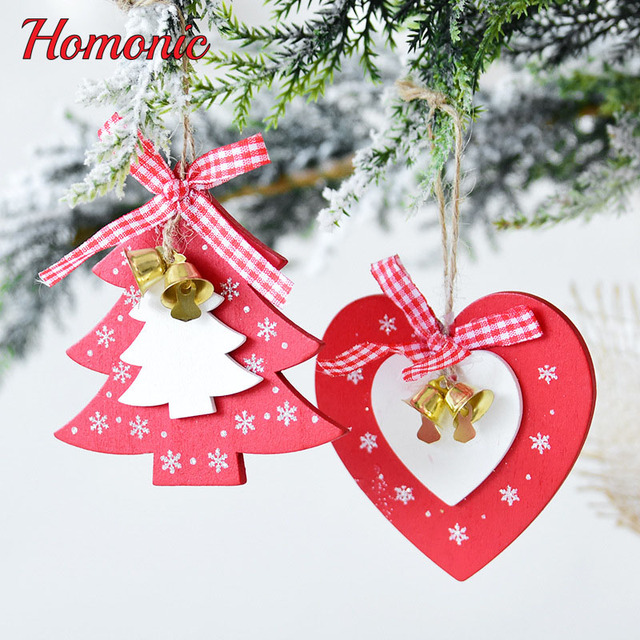 Us 3 54 Natural Wood Christmas Ornaments Pendant Hanging Gifts Star Heart Ribbon Christmas Bell Xmas Tree Decor Home Wedding Decorations In Pendant