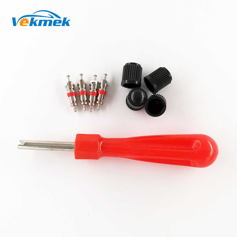 1 Set Tire Valve Service Kit 4 Valve Cores 4 Valve Caps 1 Valve Stem Screwdriver Tire Repair Tool for Car Motorcycle Bus Truck