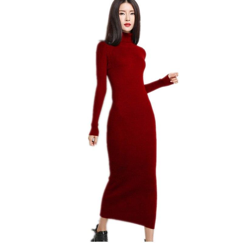 New Black Tight Dress Winter 2018 Long Sleeve Dress Clothes Womens