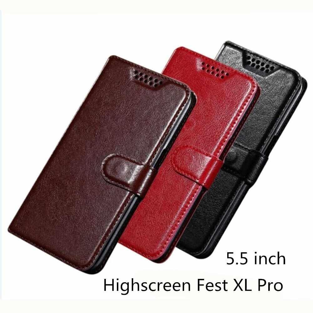 Cho Highscreen Fest XL Pro Trường Hợp Wallet PU Leather Case Đối Với Highscreen Fest XL Pro Bìa Chất Lượng Cao Cuốn Sách Đứng khe Cắm thẻ Nhớ Trường Hợp