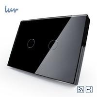New Style US AU Standard Smart Switch VL C302SR 82 Black Pearl Crystal Glass Panel 2