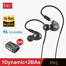 Fiio fh1 armadura equilibrada híbrido dinâmico de alta fidelidade graves fones de ouvido 1 dinâmico + 2 bas (knowles) dois cabos com microfone e remoto