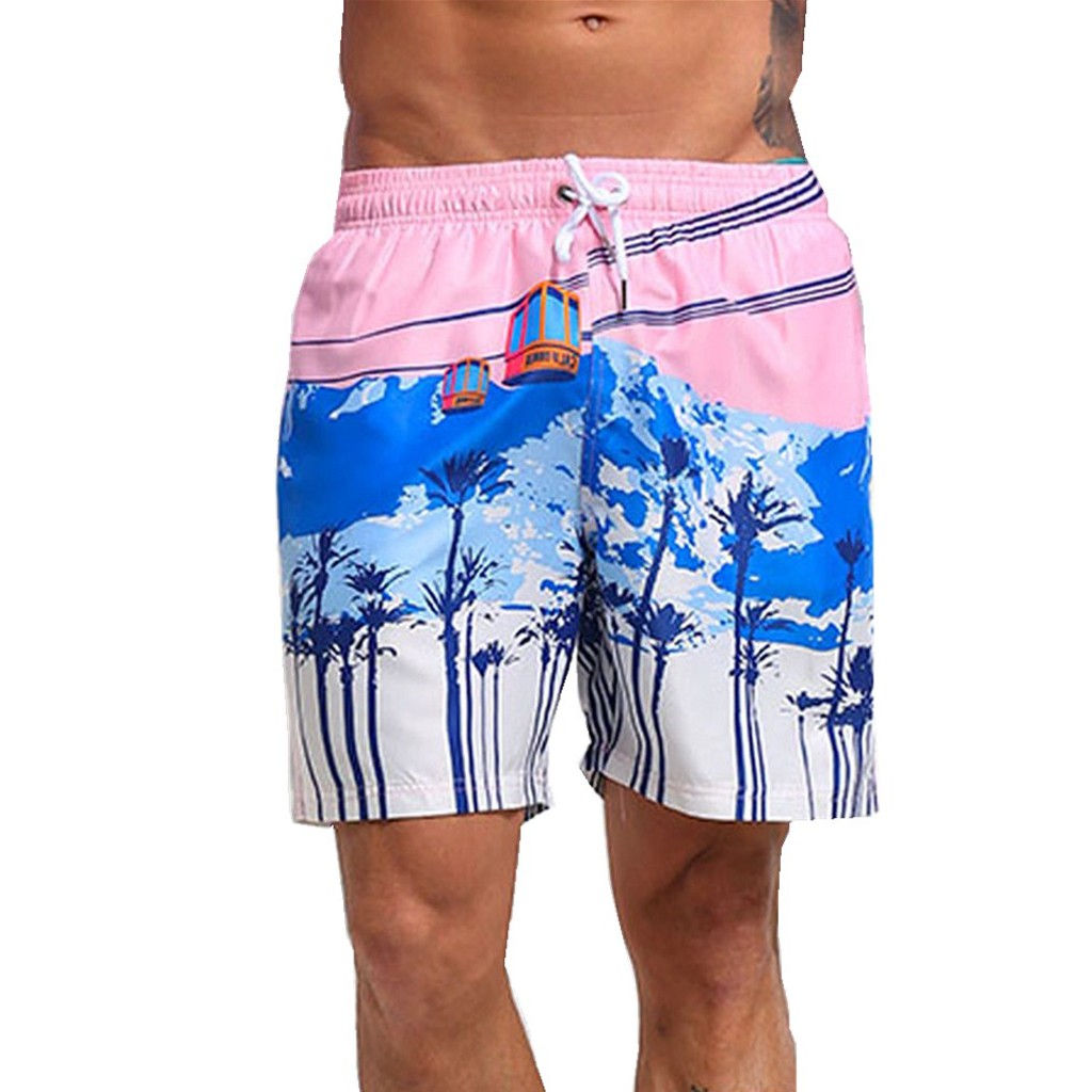 Selfless Feitong Summer Hot Men Beach Shorts Quick Dry Coconut Tree Printed Elastic Waist Flowers Print Straight Short Beach #w35 Cheap Sales 50% Men's Clothing