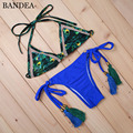 BANDEA Stripsky Sexy Women Print Bikini Deep Blue Biquini Handmade Fringe Swimwear Summer Style Swimsuit Bathing Suit