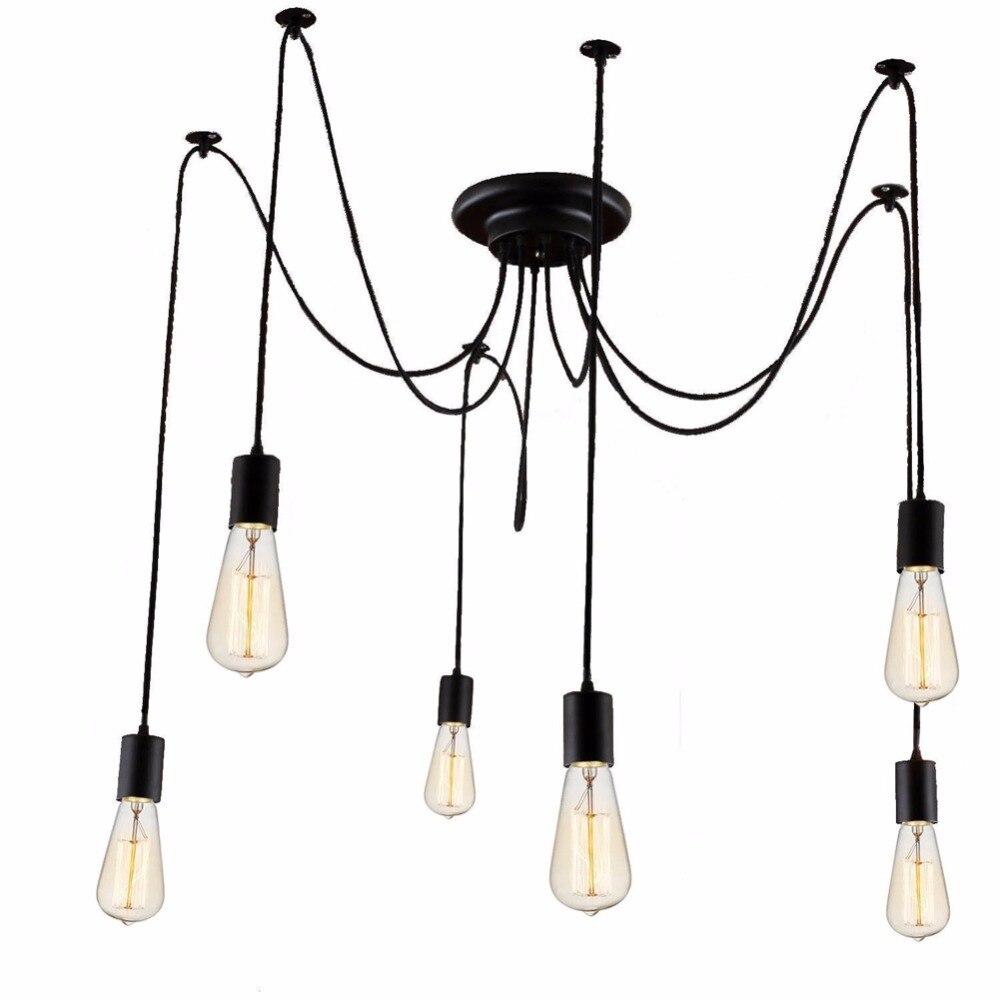 6 heads nordic retro edison bulb pendant chandelier vintage loft antique adjustable diy e27 spider pendente