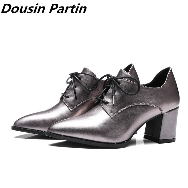 3fe8ed84e51d37 Dousin Partiin Spring  Autumn Women Shoes Platform Lace Up Black Pointed Toe  Square High Heels N745632145 35-40