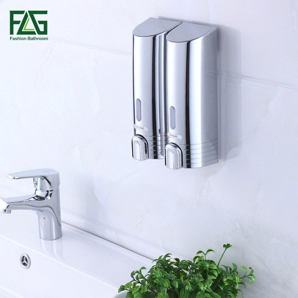 Flg mais barato dispensador de sabão duplo fixado na parede sabão shampoo dispensador do chuveiro ajudante para o banheiro hospital hotel abastecimento P113-02C