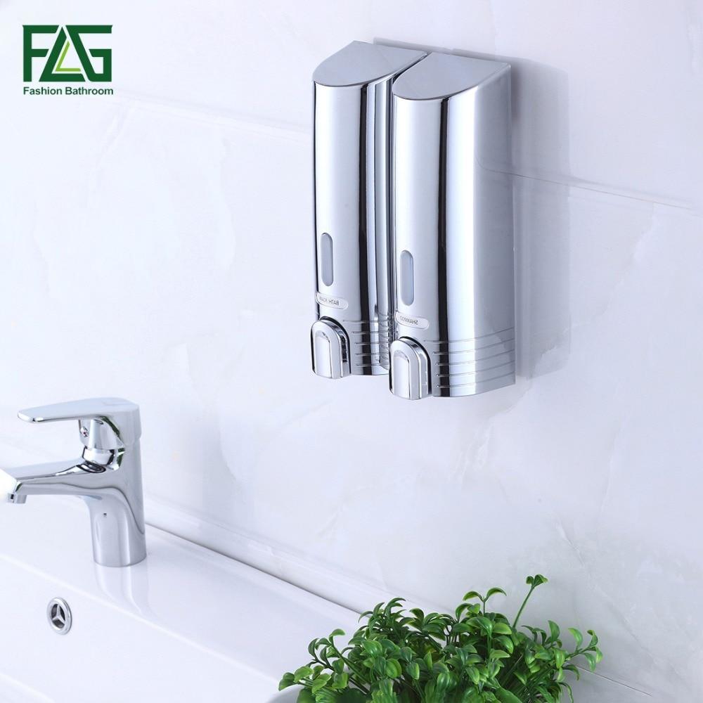 FLG Cheapest Double Soap Dispenser Wall Mounted Soap Shampoo Dispenser Shower Helper For Bathroom Hospital Hotel Supply 9050C-2