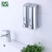 FLG Cheapest Double Soap Dispenser Wall Mounted Soap Shampoo Dispenser Shower Helper For Bathroom Hospital Hotel Supply P113 02C