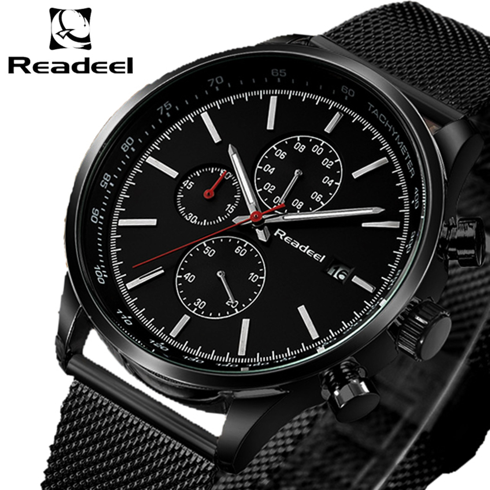 Readeel Fashion Mens Watches Top Brand Luxury Quartz Watch Men Casual Slim Mesh Steel Waterproof Sport Watch Relogio Masculino