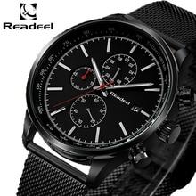 Readeel модные для мужчин s часы лучший бренд класса люкс кварцевые часы для мужчин повседневное Тонкий сетки сталь водонепроница…