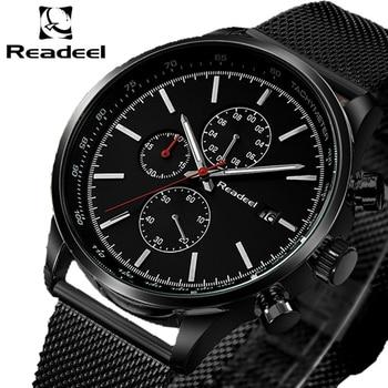 Readeel Mode Herren Uhren Top Brand Luxus Quarzuhr Männer Beiläufige Dünne Mesh Stahl Wasserdichte Sport Uhr Relogio Masculino