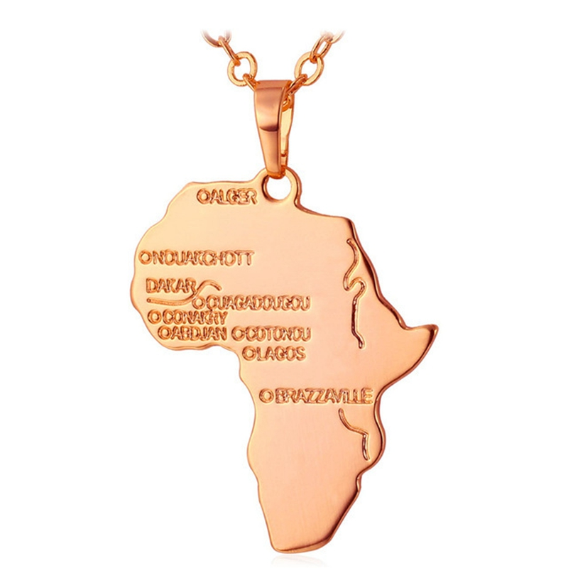 African Map Unisex Gift for Men/Women 4 Colors Pendant
