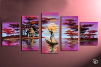hand painted wall art boat tribal national people home decoration abstract Landscape oil painting on canvas 5pcs/set mixorde