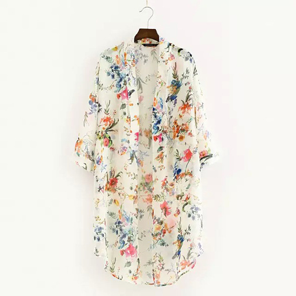 Women   Blouses   2018 Kimono Cardigan two Colors Chiffon Flowers White And black   Blouse     Shirt   Chemisier Femme