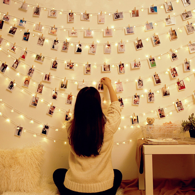 Photo String Light with Wooden Photo Clips Dormitory Bedroom Decoration Twinkle LED Light for Hanging Pictures Photos