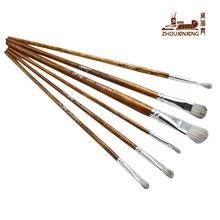 ZHOUXINXING 6pcs/set Mixed hair Wood grain rod Painting Brush Oil Acrylic Brush Watercolor Pen Drawing set Art Supplies