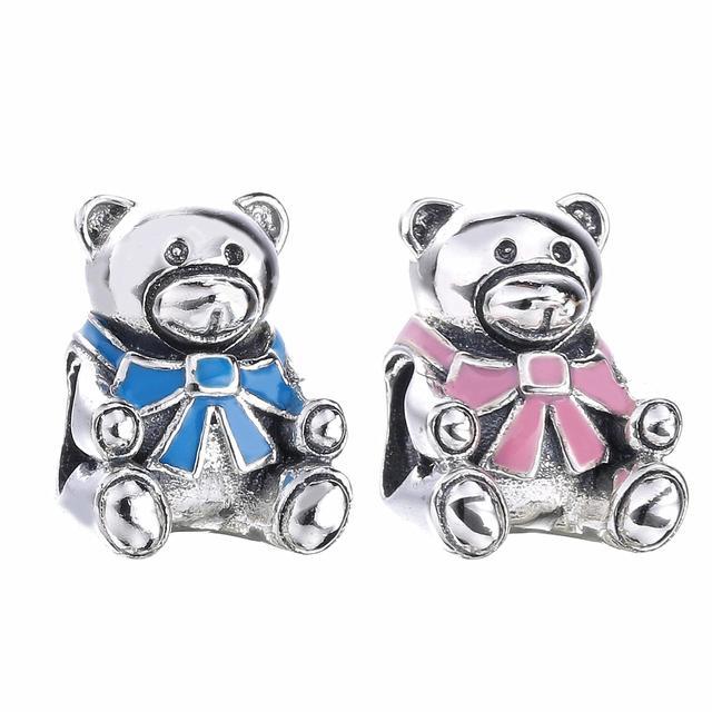 64928227c 100% 925 Sterling Silver Girl Teddy Bear Charm Fit Original Pandora Bracelet  & Necklace Authentic Women Jewelry Gift