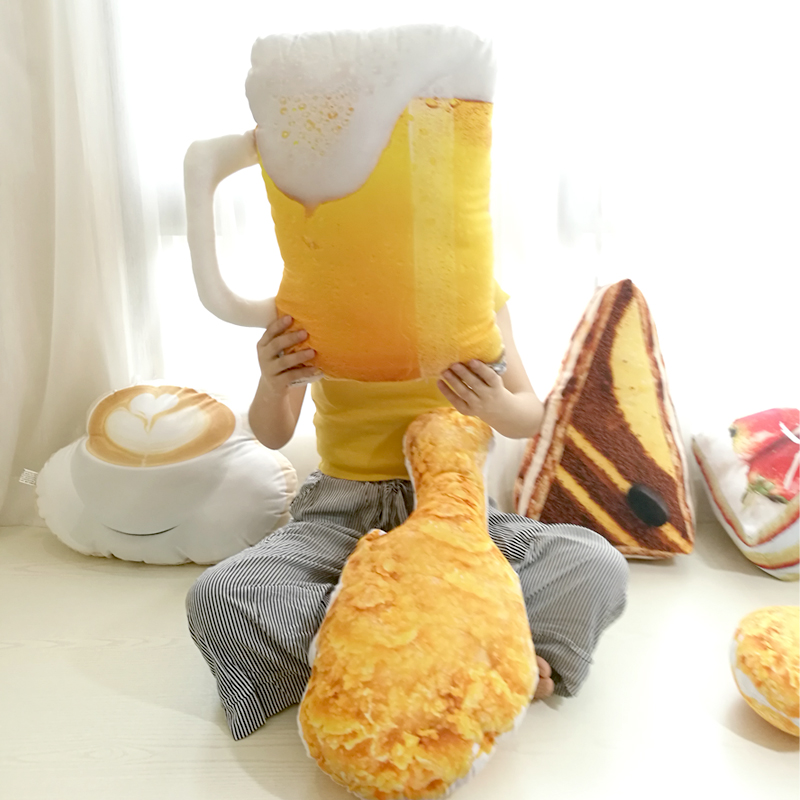 3D Toy Pillow Food Plush Cake Coffee Beer Stuffed Cushion Sofa Home Decor Gift