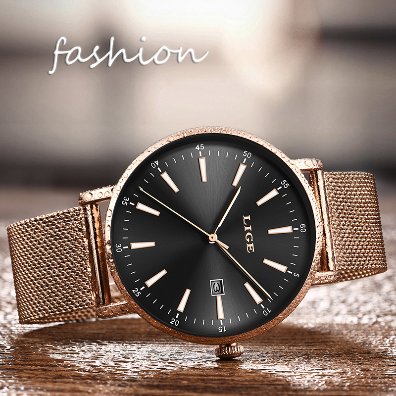 LIGE Top Luxury Brand Women Watches  Fashion Grid All Steell Quartz Ladies Diamond Dress Watch Female Gift Relogio Feminino+Box