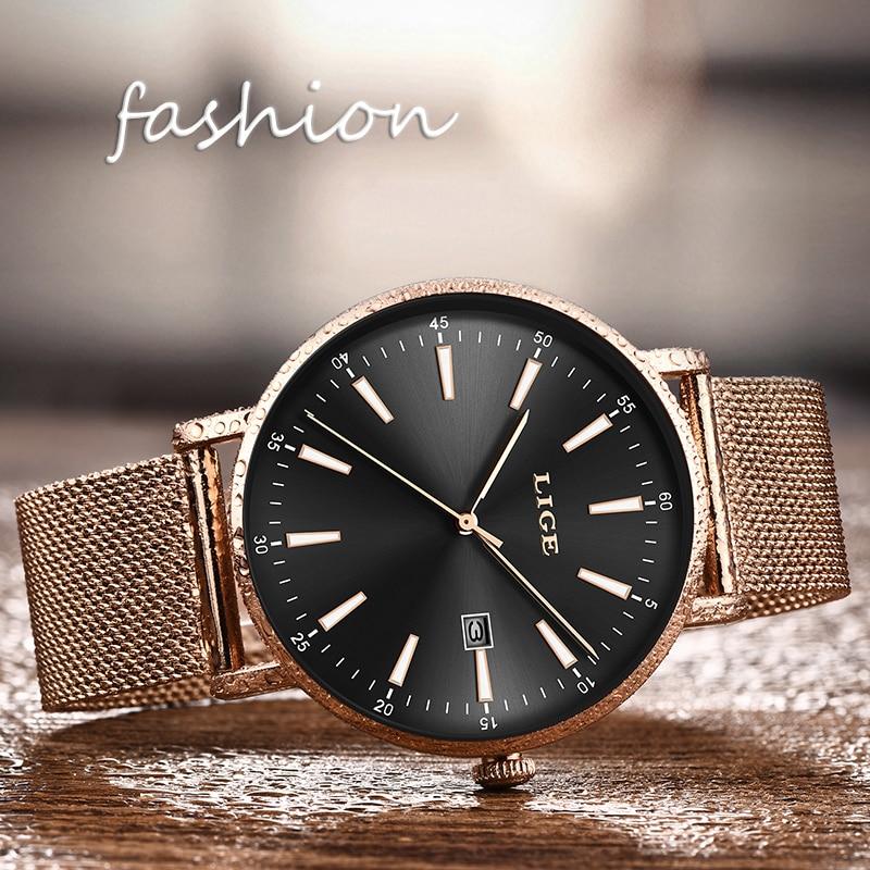 LIGE Top Luxury Brand Women Watches  Fashion Grid All Steell Quartz Ladies Diamond Dress Watch Female Gift Relogio Feminino+Box