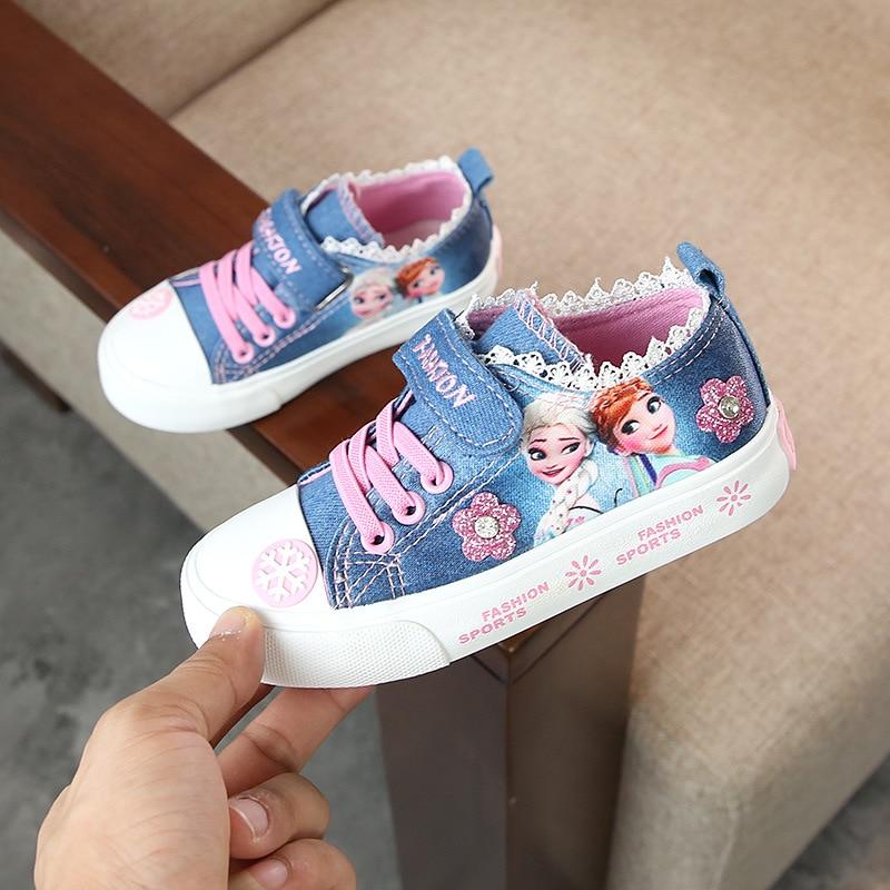 New Children Shoes Girls Denim Canvas Cartoon Snow Queen Elsa Anna Princess Shoes Flower Letter Massage Sport Shoes Breathable