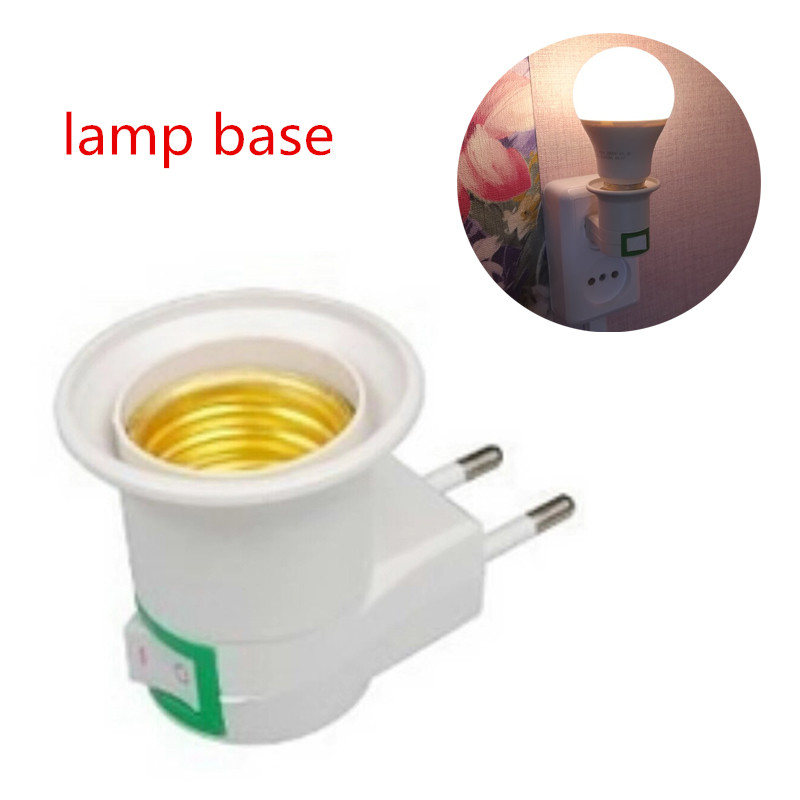 E27 EU Plug Lamp Holder Converter E27 Base Socket Adapter With On-off Control Switch Night Light Power Home Lighting Accessories