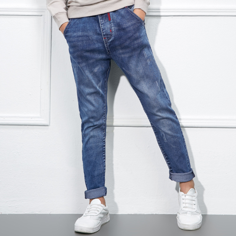 New 2018 Spring Casual Pants Mid Elastic Waist Jeans For Boys Denim Trousers Infant Bottom Children Jean Pant For Kid Trousers bazaleas flower embroidered mom jeans female blue casual pants capris spring pockets jeans bottom casual pant