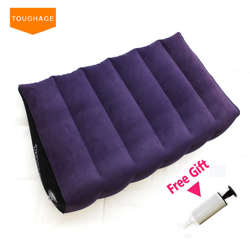 Toughage Inflatable Sex Pillow Wedge Sex Sofa Bed Magic Cushion Pillow for Couples Adult Sex Furniture Bed Pad Toys PF3201 new 2pcs set toughage inflatable sex love cushion adult sex furniture sofa cushion sex machine for men adult sex toys for women