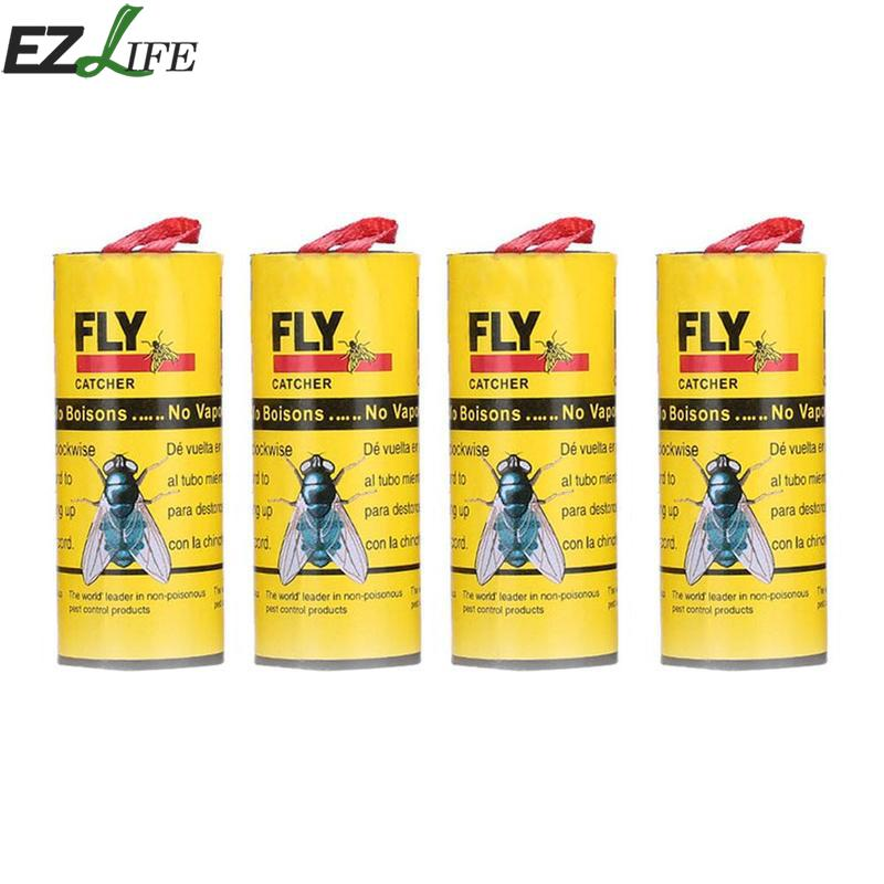 4 Rolls/pack Insect Bug Fly Glue Paper Catcher Trap Ribbon Strip Fly Killer Sticky Fies Pest Control Tools Home Summer Use