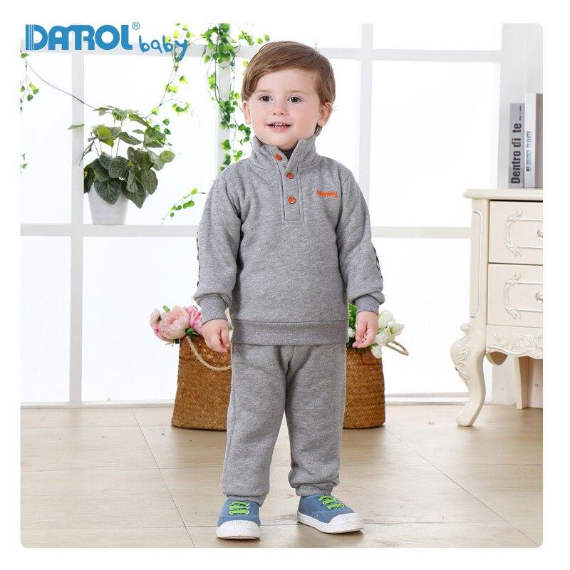 1T-4T Cotton Sprots Suit For Boys Girls Solid Fleece Children Boys Clothes Long Sleeve Girls Sports Suit Boys Clothes DR0163