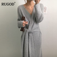 RUGOD 2019 New Korean Belted Sweater Dress Women Fashion Office Lady V Neck Long Sleeve Knitted Dress Winter Warm Thick Vestidos