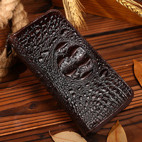 Genuine Leather Cowhide Men Clutch Bag Vintage Wallet Mobile Phone Case Cash Crocodile Pattern Purse Famous Brand Money Bags New
