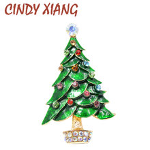CINDY XIANG Green Enamel Christmas Tree Brooches for Women Fashion Rhinestone Brooch Pin Winter Coat Accessories Broches Gift(China)