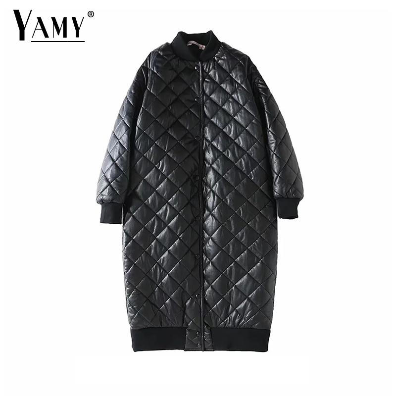 2018 chamarras de mujer long puffer jacket women warm PU Argyle Down jacket femal fur parka