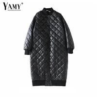 2018 chamarras de mujer long puffer jacket women warm PU Argyle Down jacket femal fur parka korean long sleeve winter coat women