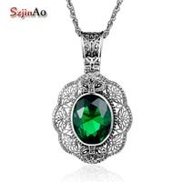 Szjinao Rose Shape 925 Sterling Silver Necklace & Pendant Vintage Emerald Maxi Choker Statement Boho Big Fashion Women Jewellery