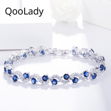 QooLady Elegant Dark Blue Cubic Zirconia Stone White Gold S Shape Charm Women Tennis Bracelets for Wedding Brides Jewelry S001 shdede cubic zirconia elegant charm bracelets for women bride wedding fashion jewelry heart valentine s day gift whe262