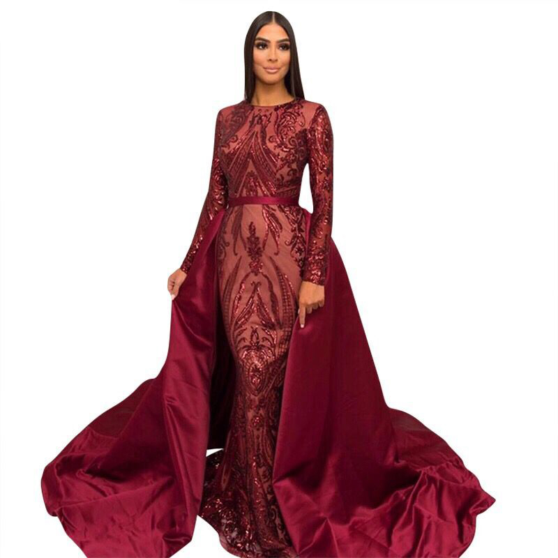 Long Sleeves Burgundy Evening Dresses 2020 Mermaid Abendkleider Muslim Women Gown With Detachable Skirt Robe De Soiree Longue