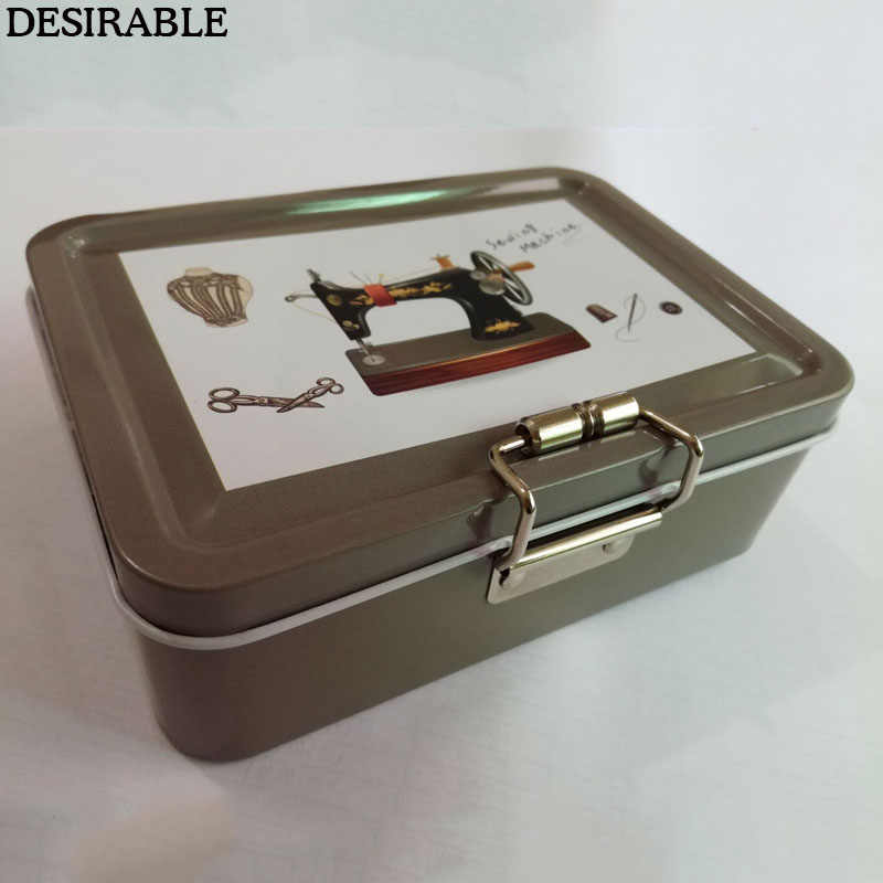 DESIRABLE portable exquisite metal box double Layered Square sewing secret treasure jewelry card etc small items storage box