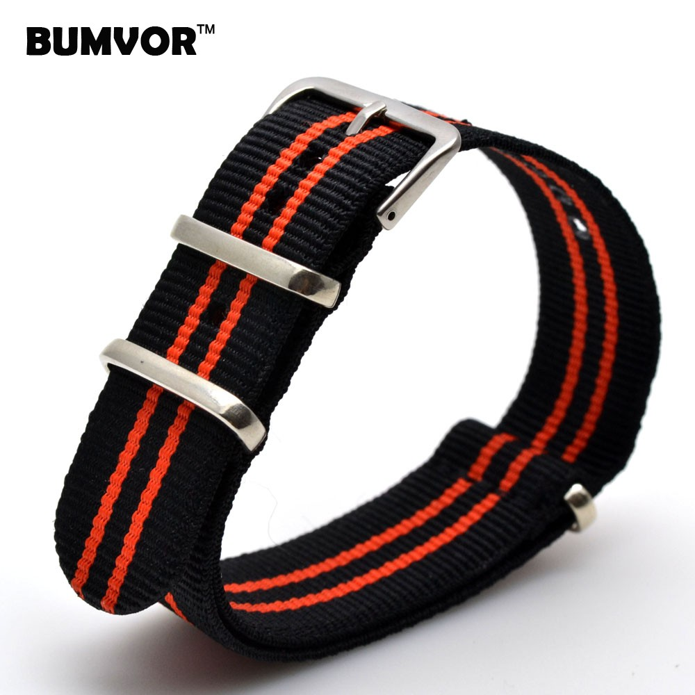 Colors Wholesale 20 Mm Stripe Black Red Nato Woven Fiber Watchband 20mm Nylon Watch Straps Wristwatch Band Buckle Cheap Fabric
