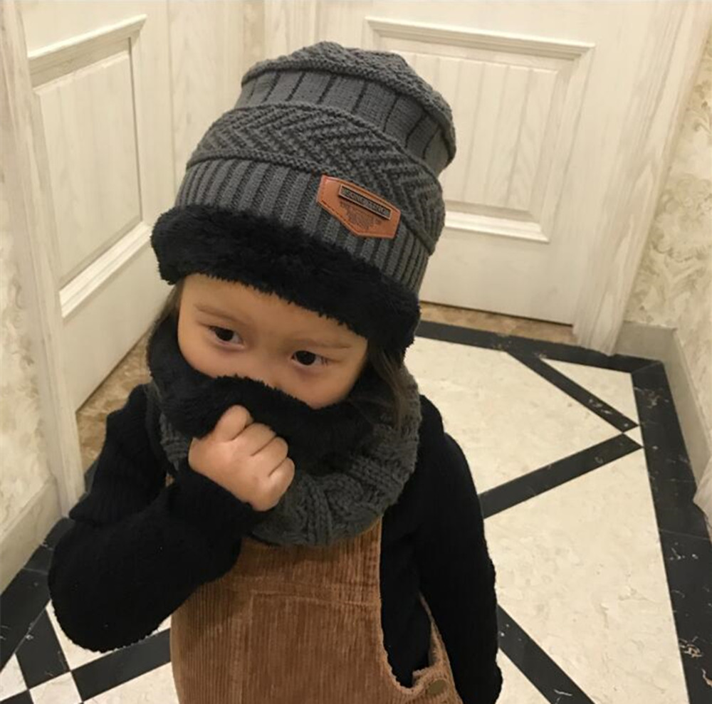 Yyun Boys And Girls Scarf And Hat Set 2 For 8 Years Thickened Wool Cap Plus Cashmere Keep Warm Children Winter Hat And Shawl Set