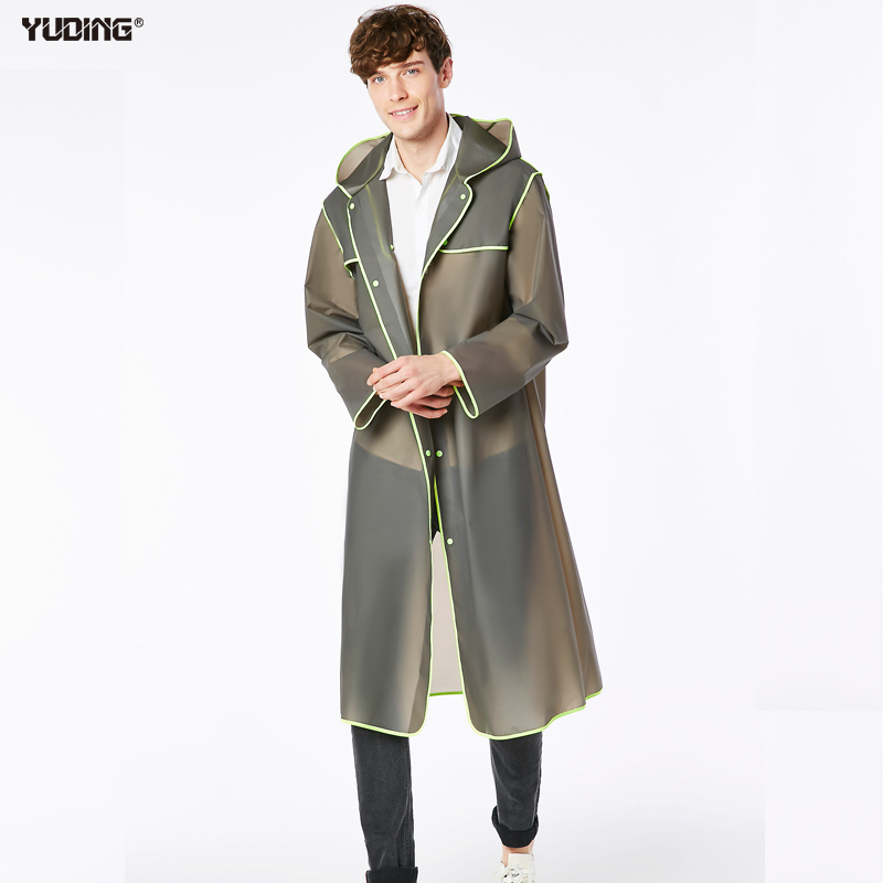 Yuding Long WomanMan Raincoat 0.15mm EVA Raincoats Universal Vattentät Rain Poncho Vandring Rea Hooded Plastic Rain Coat