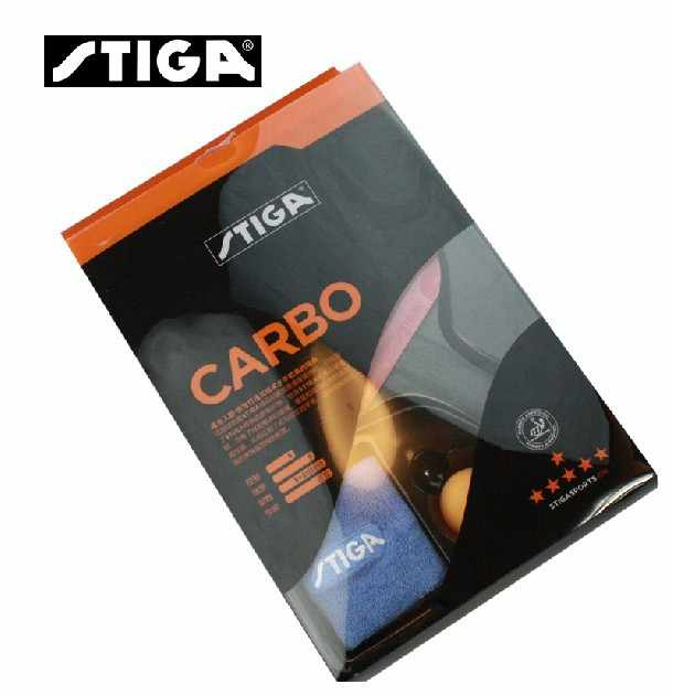 STIGA 6 Star Carbon (Ship in Original Box) Table Tennis Racket (6-Star Level, Gift Set) with Rubber + Wristband + Ball Set