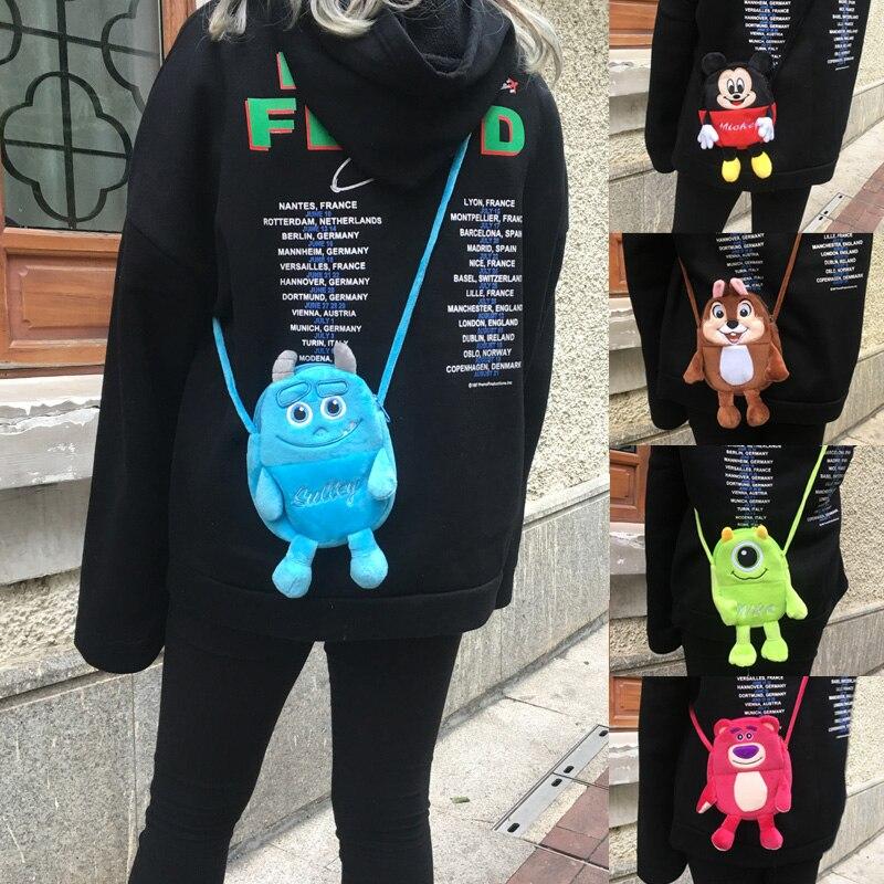 Handbags Tote Sulley-Mickey Anime Purse Plush-Shoulder-Bag Cartoon 1PCS Soft Pouch Card