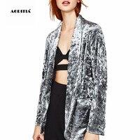 2017 Autumn Spring Women Velvet Blazers And Jackets Coat Outerwear Blaser
