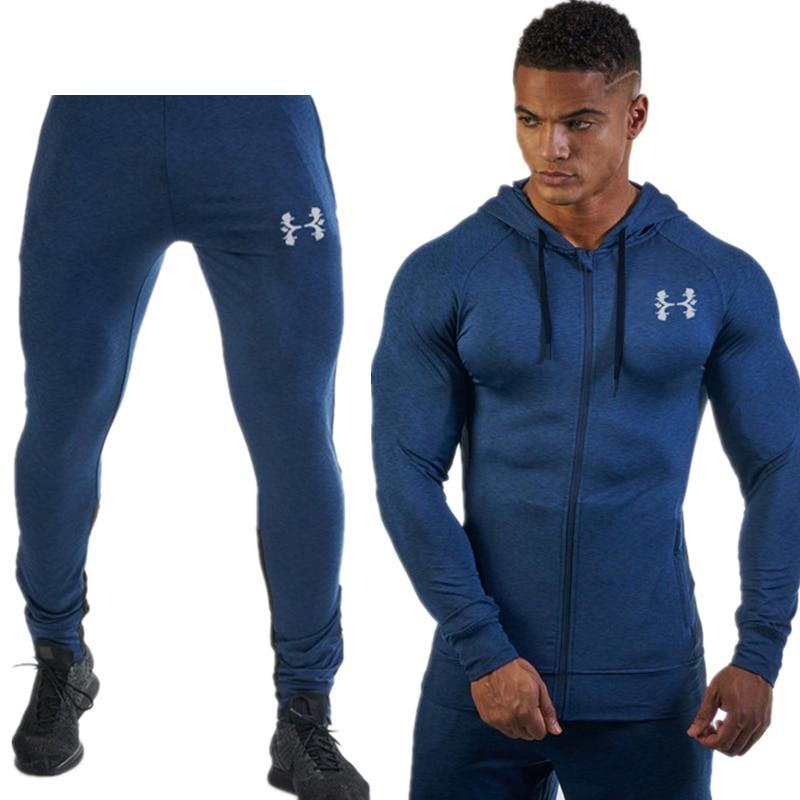 New Tight Hoodies Zipper Slim Hiking Sweatshirts Male Gym Training Jackets Running Jacket Men Sports Suit  Long Sleeve Hooded