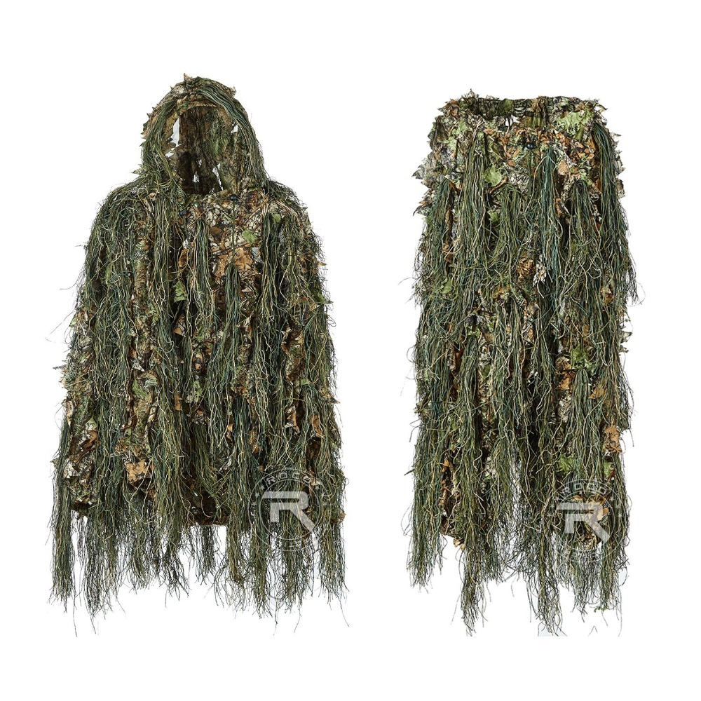 Hybrid Woodland Camouflage Ghillie Hunting Suit Light Weight Camouflage Ghillig Suit Combination of String & Fabric 3D Design 5 pieces new ghillie suit camo woodland camouflage forest hunting 3d